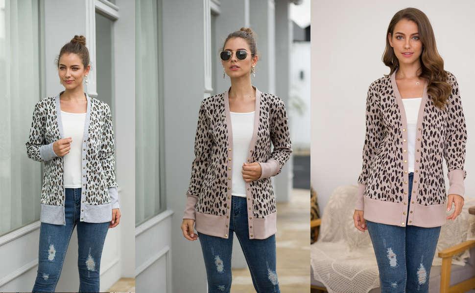 women's leopard cardigan sweaters