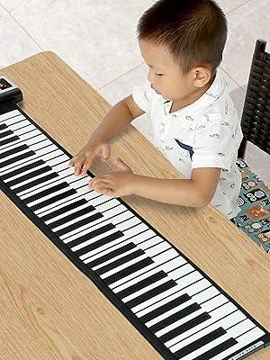 Andoer® Teclado Electronico Portátil Flexible Rueda para Arriba de Piano Enrrollable Piano Virtual 61 Teclas