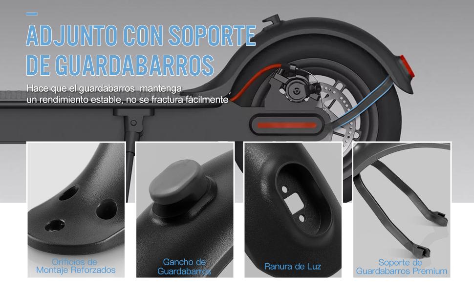 AGPTEK Guardabarros M365, Guardabarros Trasero para Xiaomi M365 Eléctrico Scooter con Soporte de Guardabarros Trasero Delantero, Negro