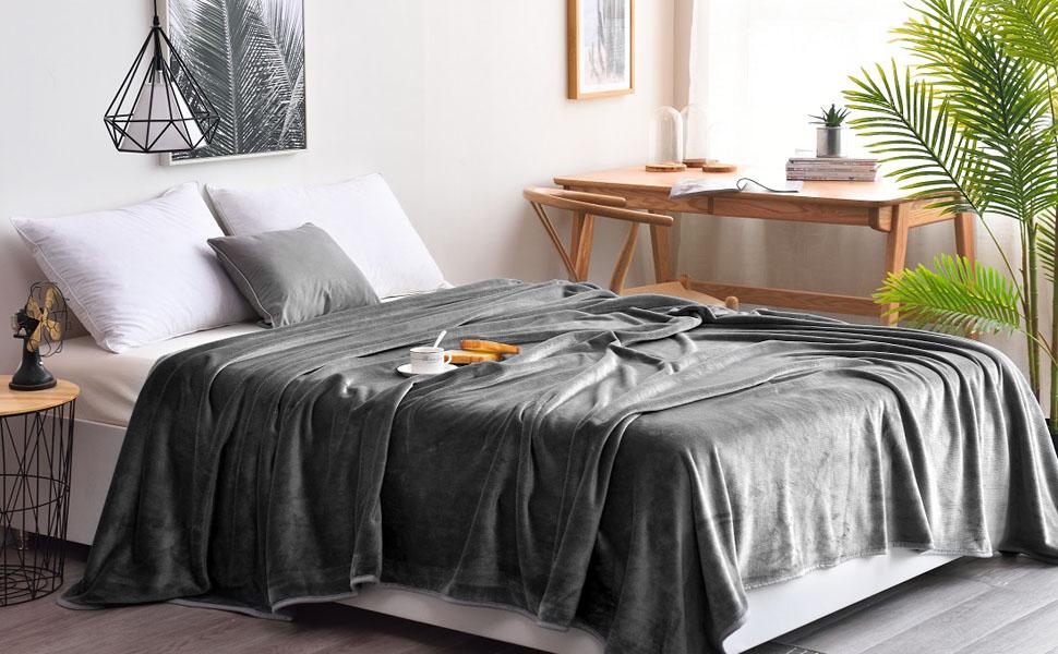 dark grey fleece king queen size blanket