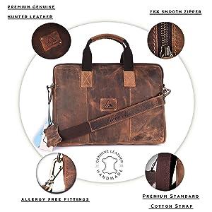 PICCO MASSIMO Men's Hunter Leather Laptop Bag