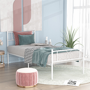 twin bed metal  SimLife Single Bed Platform Kids Boys Adult No Box Spring Needed Princess White Twin Size Bed Frame with Headboard and Footboard Mattress Foundation d619b81f 9a6d 4d9d b8a2 06f45880391d