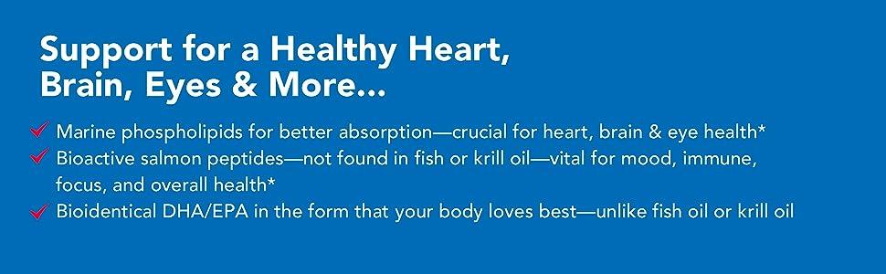 marine phospholipids, better absorption, salmon peptides, overall health, fish oil, krill oil