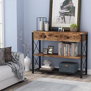 Marque Amazon - Movian Corona Table console 2 tiroirs avec étagère, bois de pin massif, 70 x 83 x 31 cm