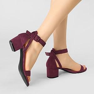 Allegra K women's ankle strap with wide sandals