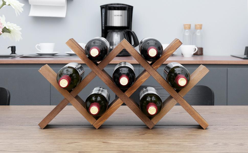 WELLAND Butterfly Countertop Wine Rack - 7 Bottles Tabletop Wood Wine Holder
