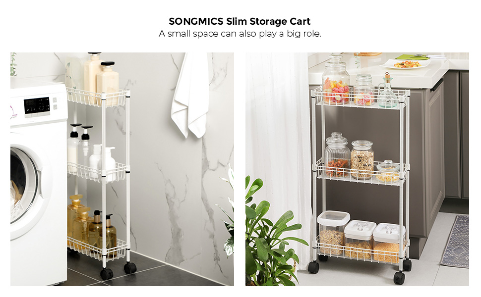 40 x 15 x 80 cm Rolling Storage Rack on Wheels SONGMICS Slim Storage Cart for Small White LGR203W01 Tight Spaces 3-Tier Slide-Out Trolley Kitchen Laundry Room