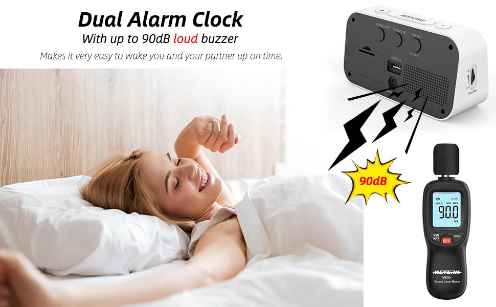 Dual Alarm Clock with 90dB Loud Volume