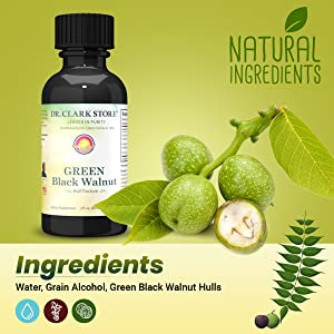ingredients - water, grain alcohol, green black walnut hulls