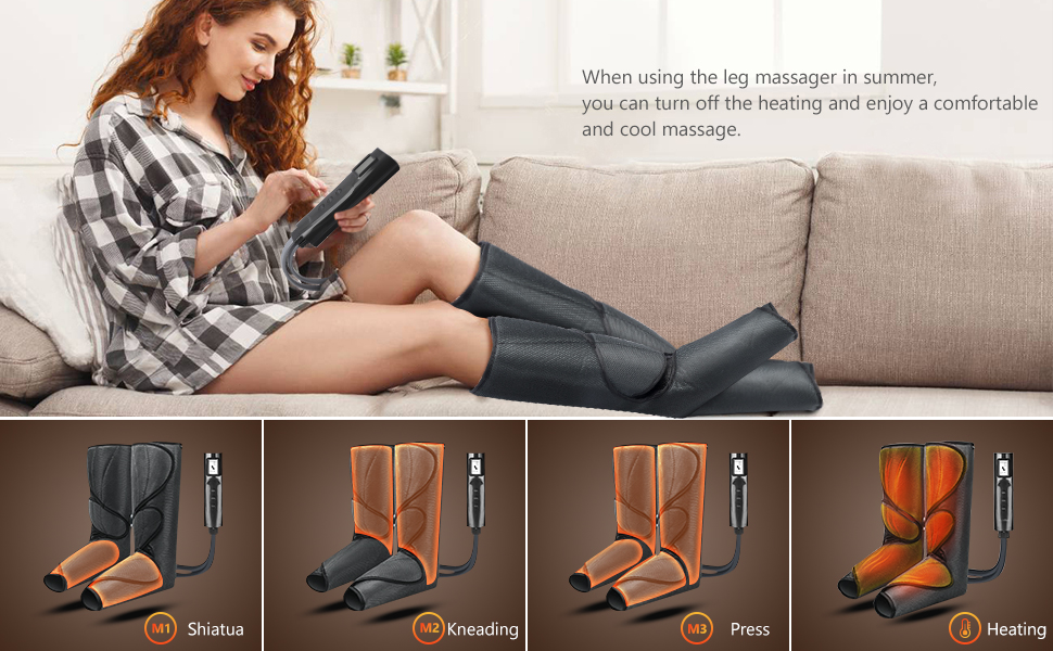 Amazon.com: Cunmiso Leg Air Compression Massager with LCD Handheld  Controller for Circulation and Relaxation, Foot and Calf Massage Machine  with 3 Heat Modes 3 Intensities, 2 Extensions Wraps for Men and Women: