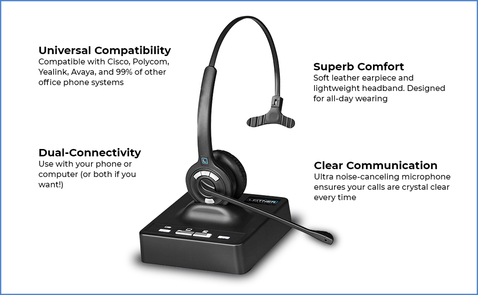 office headset, telephone headset, headset for desk phone