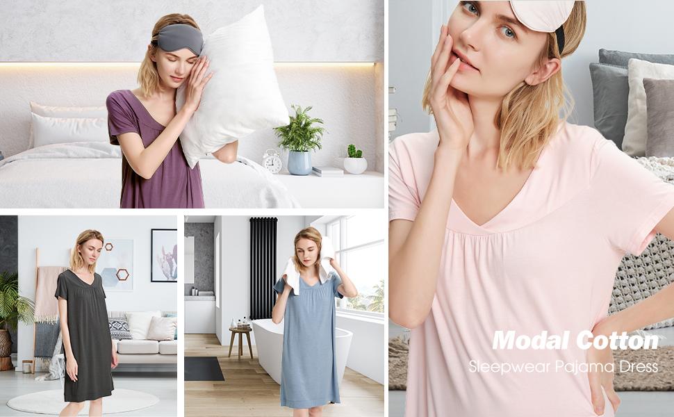 SIORO Sleepwear Women's V Neck Nightshirt Casual Loungewear Short Sleeve