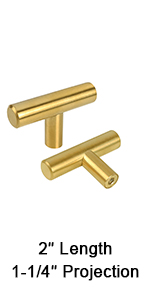 brushed brass single hole t bar cabinet knobs and pulls gold