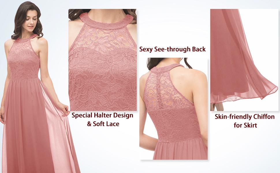 A-line maxi-length chiffon lace dress