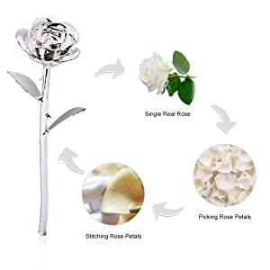 24k silver dark white rose gift for her christmas gold flower galaxy forever crystal Home Decoration