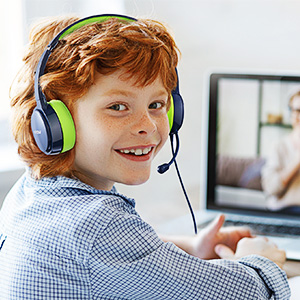 usb headset with microphone 3.5mm jack kids headphones with mic for boy girls zoom school meeting