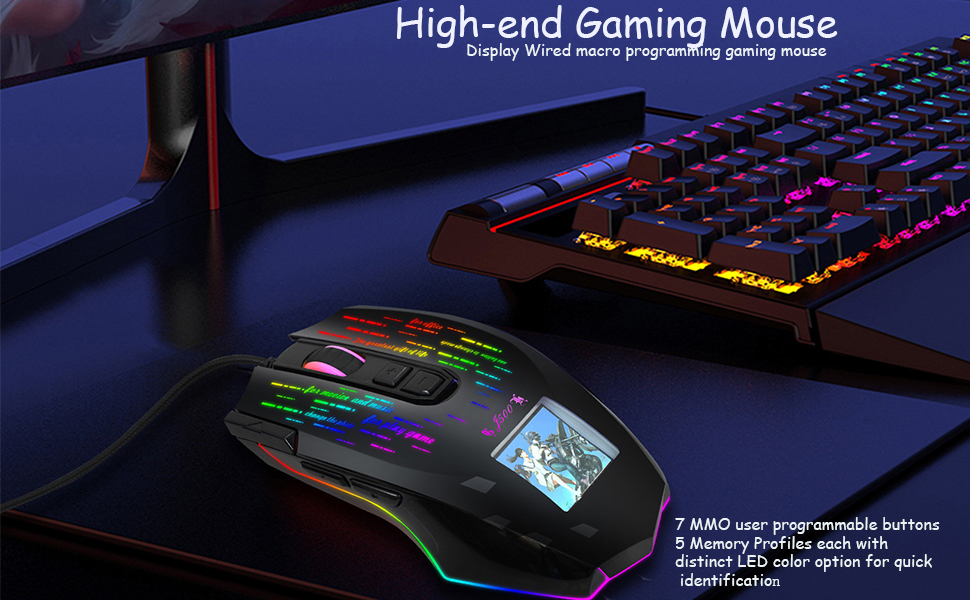 Wired mice Keys Programmable Display