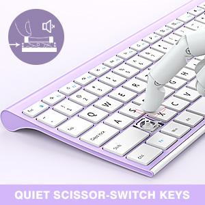 full size ultra slim rechargeable wireless keyboard mouse white purple 12303 (6)