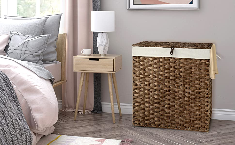 Greenstell Handwoven Laundry Hamper with 2 Removable Liner Bag Rattan Laundry Basket with Lid