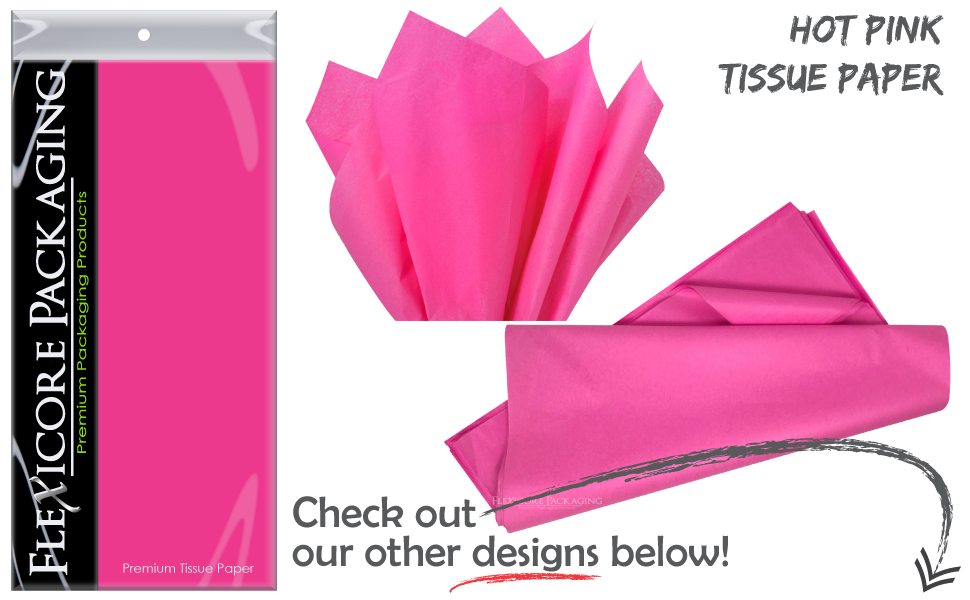 """Baby Shower 15/"""" x 20/"""" Tissue Paper for Flower Party Gift Bags 120 Sheets, Cerise Hot Pink Wedding Cerise Hot Pink Pom Poms Bridal Made in United States by Colors of Rainbow/®"""