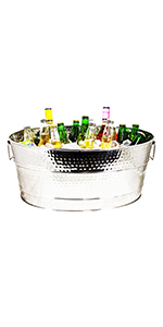 aspen, stainless, steel, beverage, tub, large, 25qt, brekx, hammered, outdoor, party, ice, wine