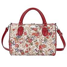signare, tapestry, v&a, bag detail, flower meadow, travel bag, floral bag