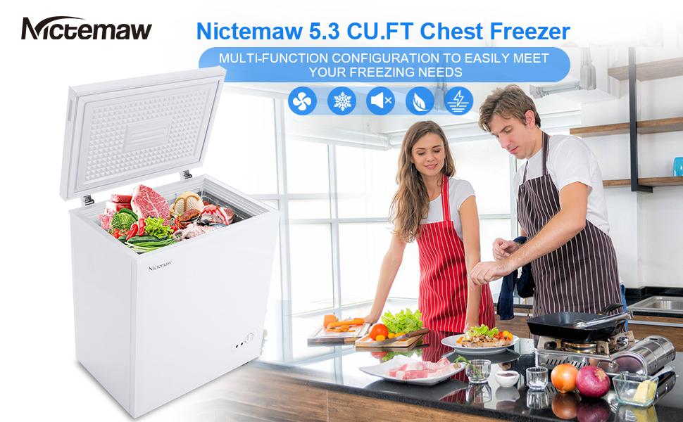 Nictemaw Chest Freezer,5.3 Cu.Ft Large Capacity Chest Freezer