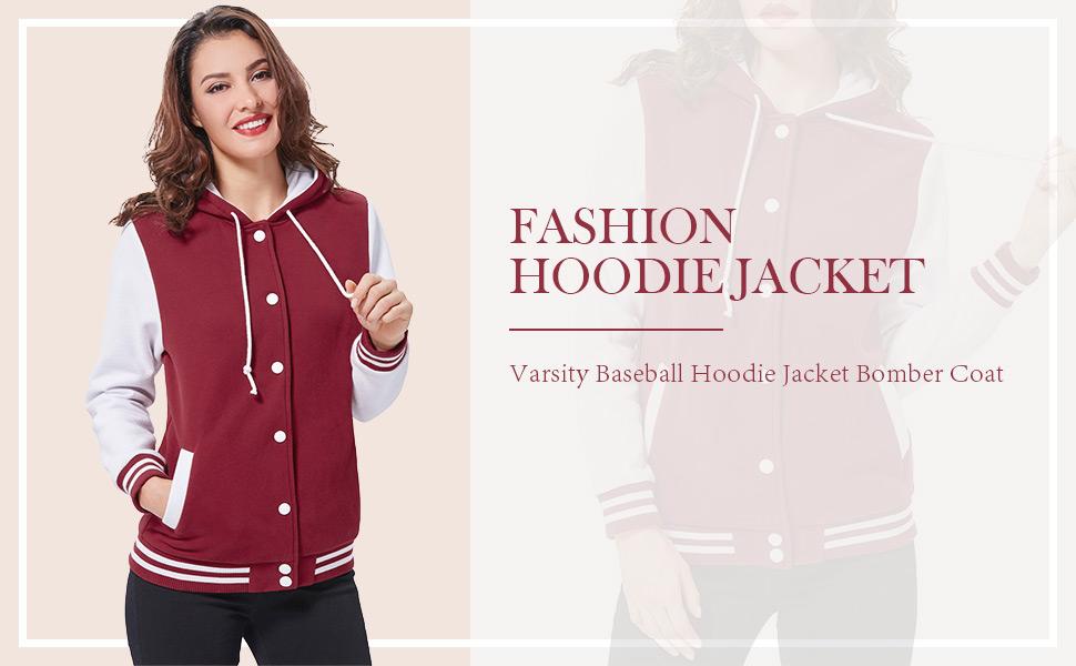 Womens  R Varsity Contrast Sleeve Baseball Bomber Hoodie Plus Size Hooded Jacket