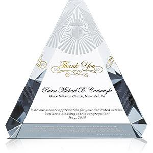 Personalized Crystal Trinity Pastor Appreciation Gift Plaque