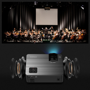 2  XIAOYA Mini Projector HD 720P with HiFi Speaker, 4000 Lumens Movie Projector Support 1080P Home Theater Projector, Compatible with HDMI, SD, AV, VGA, USB d65f0a71 2d8f 4c07 b9d9 09249a493e71