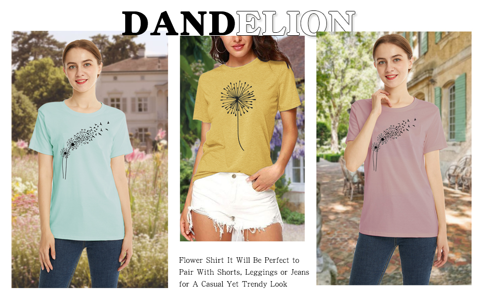 Graphic T Shirt for Women Cute Dandelion Make a Wish Vintage Tees Funny Summer Short Sleeve Blouse