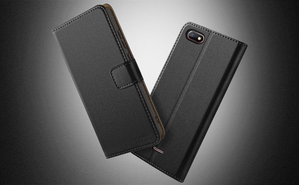 HOOMIL Case Compatible with Xiaomi Redmi 6A, Premium PU-Leather Flip Wallet Phone Case for Xiaomi Redmi 6A Cover (Black)