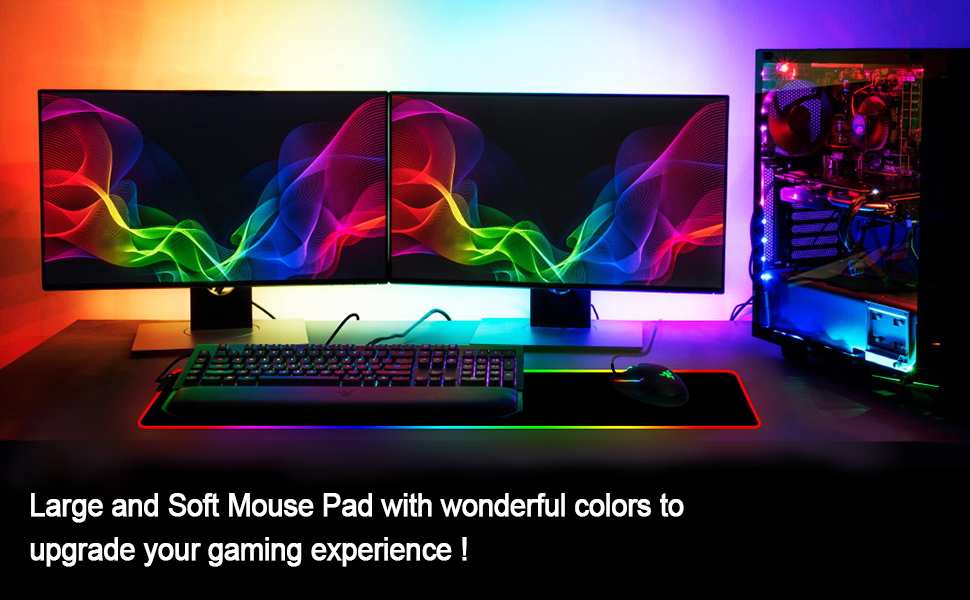 Large Glowing RGB Gaming Mouse Pad