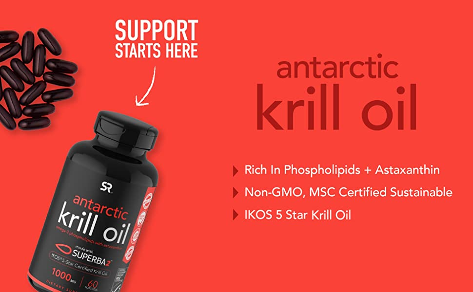 Sports Research Antarctic Krill Oil omega 3 phospholipids with astaxanthin