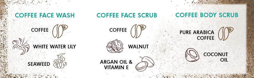 coffee white water lily seaweed walnut argan oil vitamin e pure arabica coffee coconut oil