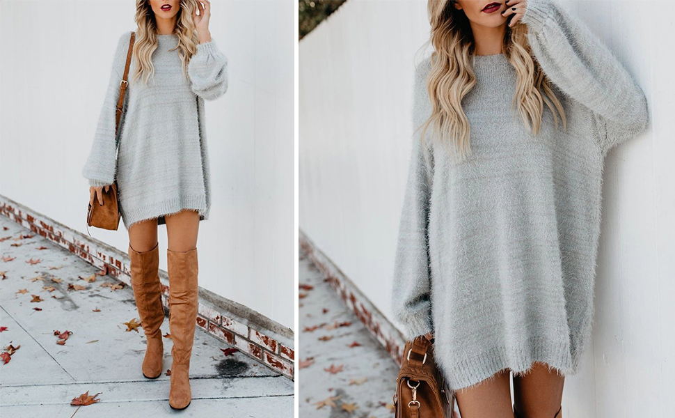 Women's Faux Fur Oversized Loose Long Pullover Sweater Dress with Pockets
