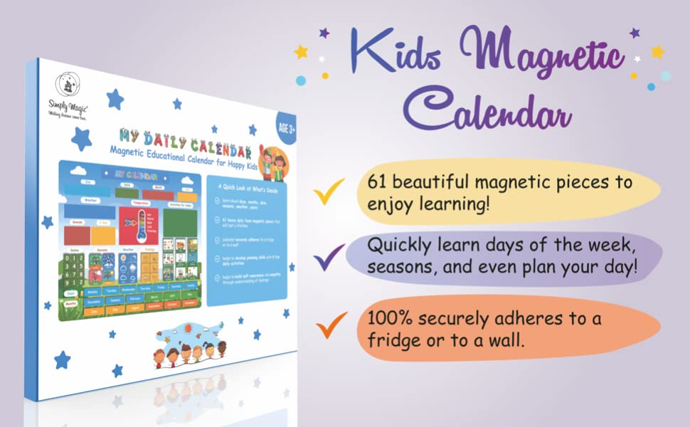 preschool calendar and weather chart, toddler calendar, calendar magnets, pre k learning materials