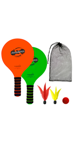 Jazzminton paddle ball outdoor with one ball and 2 birides fun beach and park game for friends