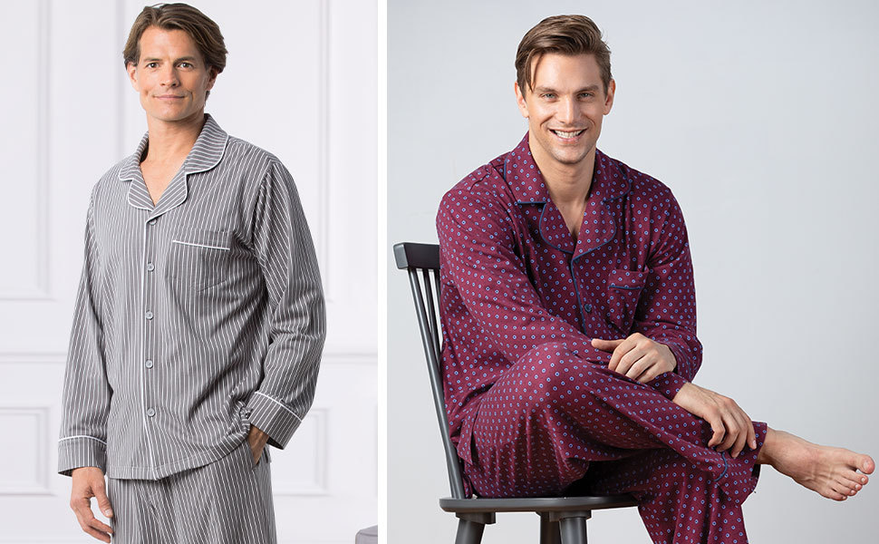two men in button front pajamas