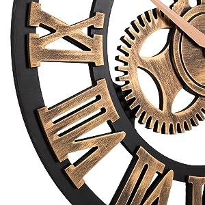 Oldtown Gear Wall Clock Roman Bronze Close up