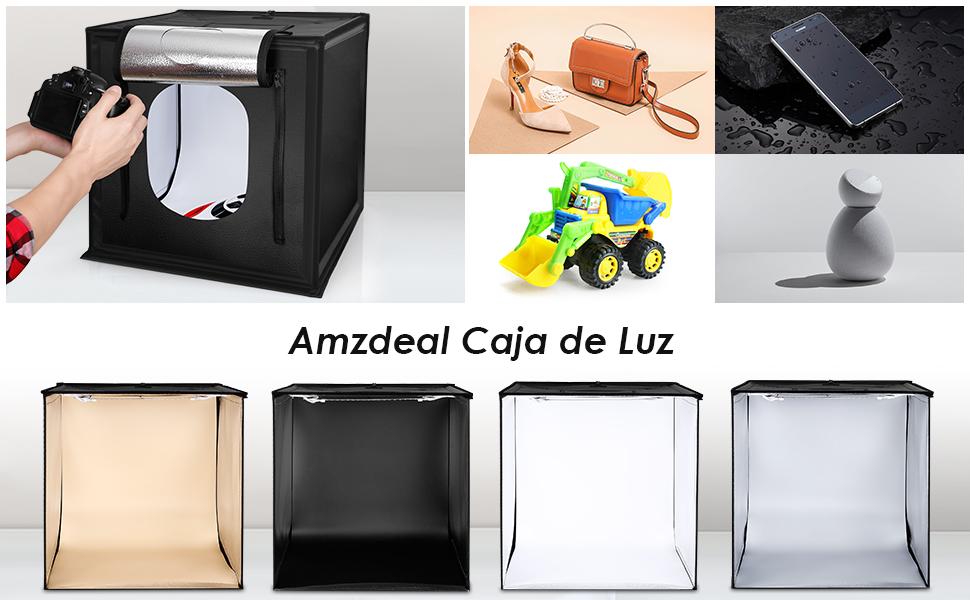 amzdeal Caja de Luz Fotografía Estudio 50x50x50 cm Portátil 3000-6500K Temperatura de Color, Brillo Regulable (10w-40w) con 4 Fondos + 4 Tiras de LED: Amazon.es: Electrónica