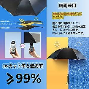 UVカット率&遮光率99%以上+晴雨兼用傘