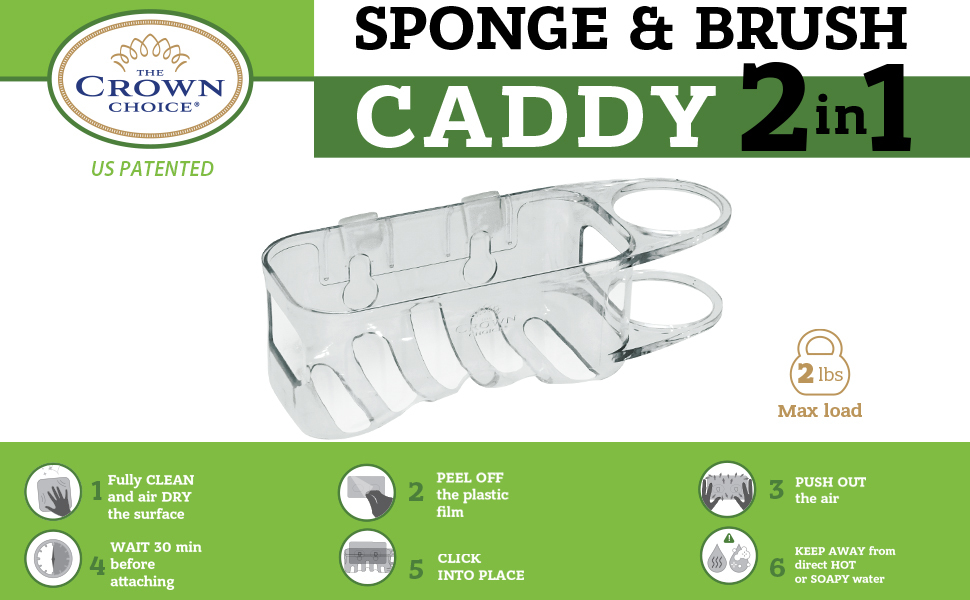 Sponge and Dish Brush Holder Adhesive Caddy Sink Organization Rust Proof  Easy Install Stainless
