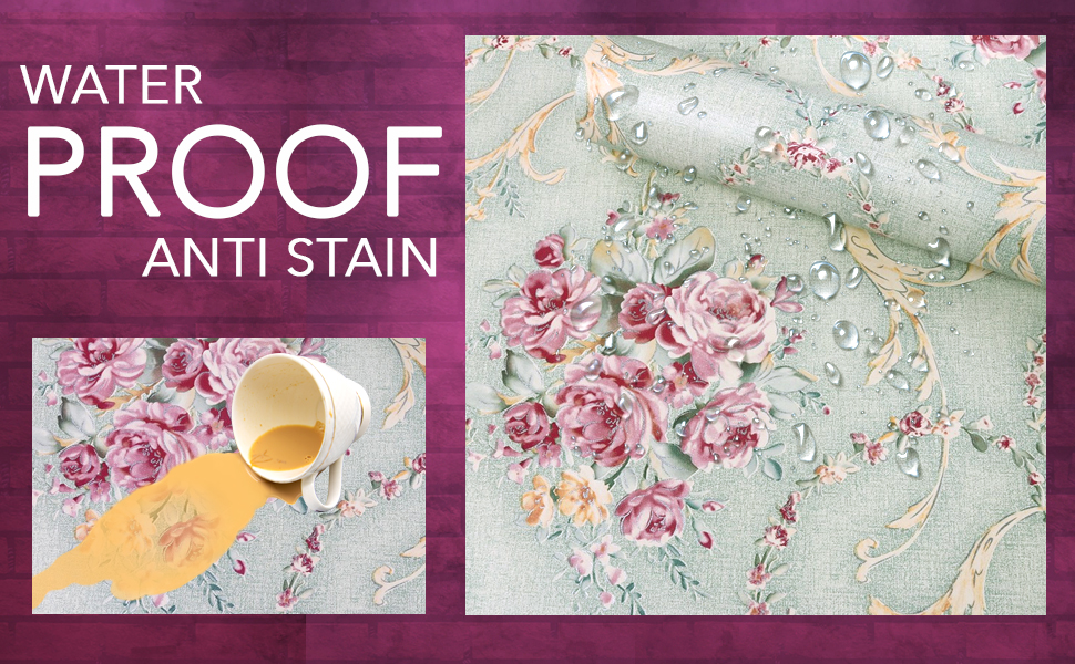 damask rose flower wall stickers wallpapers for wall, anti stain, DIY waterproof, decals floral