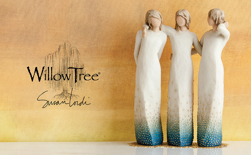 Willow Tree By My Side, three tall figures standing with arms and hands around each other.