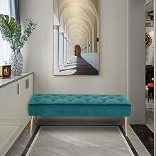 duhome velvet ottoman footrest bench