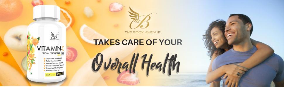 The Body Avenue 100% Vitamin C Capsule - Immunity, Potent Antioxidant, Glowing Skin, 1000mg SPN-FOR1