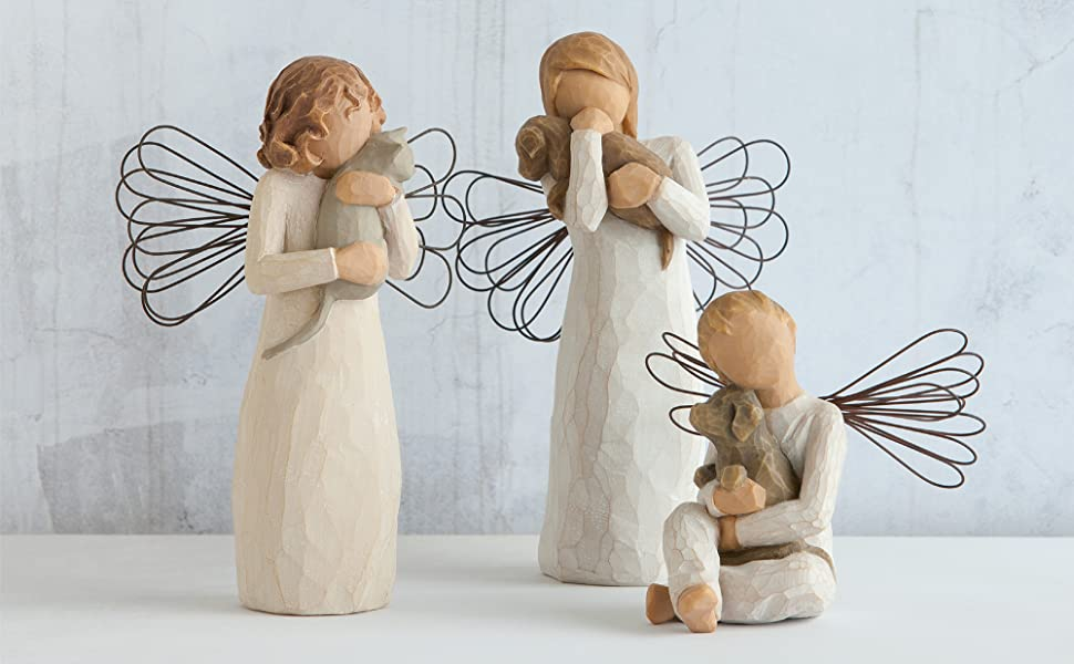 Group of Willow Tree angel figures holding pets, representing friendship