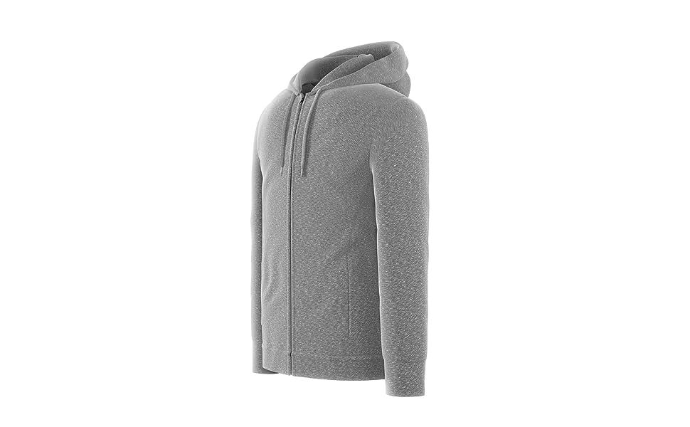 Sweatshirts for Men | Active Fleece Zip Up Hoodies with Zipper Pockets - Black & Grey | Comfort 360°
