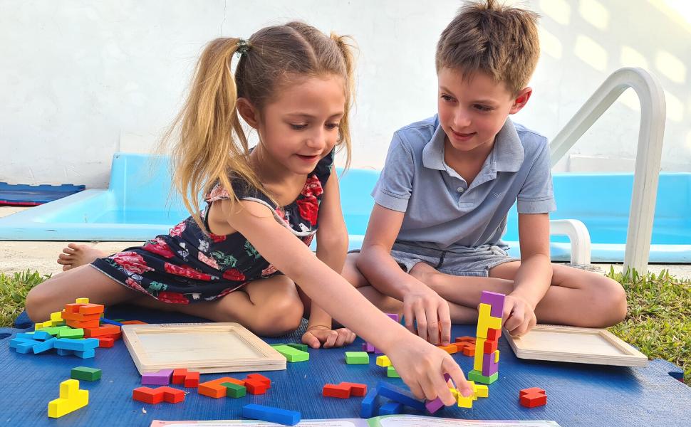 wooden puzzle Tetralino kids chidren extasticks Russian blocks Waldorf puzzle baby brain Alzheimer